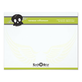 Rock Star Custom Flat Note Cards (lime) Custom Announcement