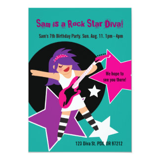 Rock Star Diva Birthday Invites