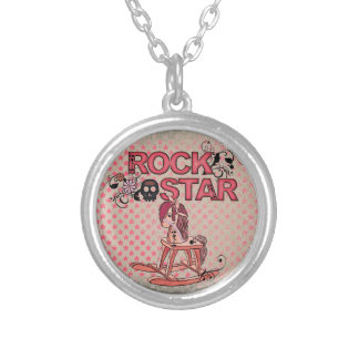 Rock star funny rocking horse necklace