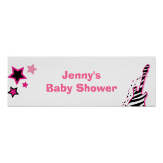Rock Star Girl Baby Shower Banner Sign Posters