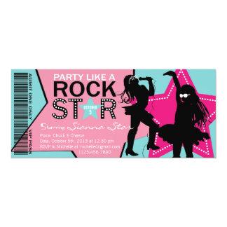 Rock Star Girl Band Birthday Aqua Pink 4x9.25 Paper Invitation Card