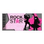 Rock Star Girl Band Birthday Pink Gray 4x9.25 Paper Invitation Card