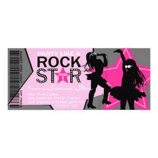 Rock Star Girl Band Birthday Pink Gray 4x9.25 Paper Invitation Card