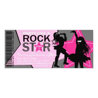 Rock Star Girl Band Birthday Pink Gray Card