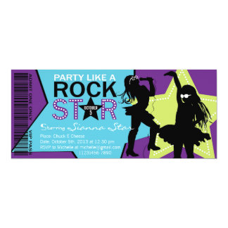 Rock Star Girl Band Birthday Purple Lime 4x9.25 Paper Invitation Card