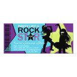 "Rock Star Girl Band Birthday Purple Lime 4"" X 9.25"" Invitation Card"