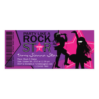 Rock Star Girl Band Birthday Purple Pink 4x9.25 Paper Invitation Card
