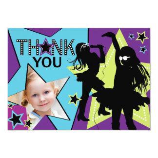 Rock Star Girl Band Thank You Aqua Green Card