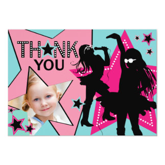 Rock Star Girl Band Thank You Aqua Pink 5x7 Paper Invitation Card