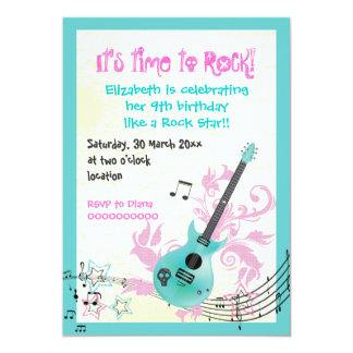 Rock star girly electric guitar birthday card
