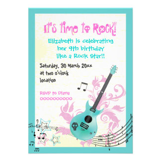 Rock star girly electric guitar birthday invites