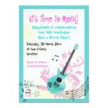 Rock star girly electric guitar birthday 5x7 paper invitation card