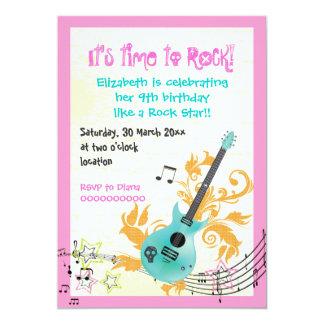 Rock star girly electric guitar girls birthday card