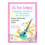 Rock star girly electric guitar girls birthday 5x7 paper invitation card