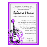 Rock Star Guitar Bat Mitzvah Purple and Black Personalized Announcements