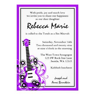 Rock Star Guitar Bat Mitzvah Purple and Black Personalized Announcements