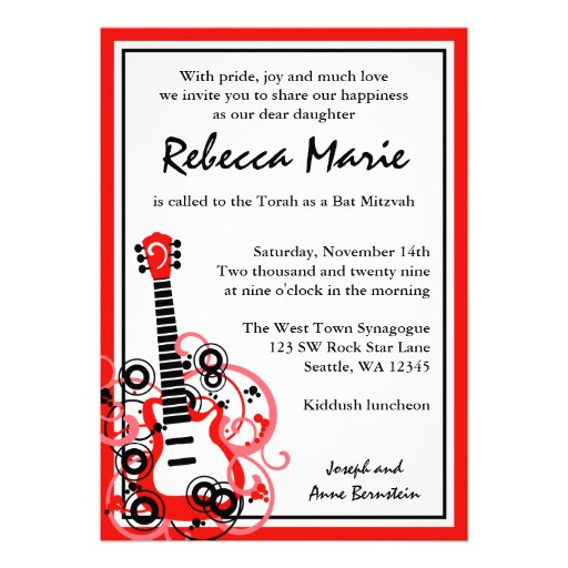 Rock Star Guitar Bat Mitzvah Red and Black Invite