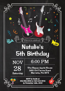 60 off guitar birthday invitations shop now to save zazzle rock star guitar birthday invitation music girl filmwisefo
