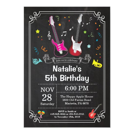 Rock Star Guitar Birthday Invitation Music Girl
