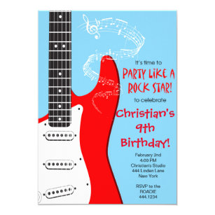 Rock Star Guitar Birthday Invitations