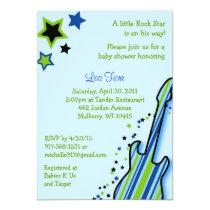 Rock Star Guitar Boy Baby Shower Invitations
