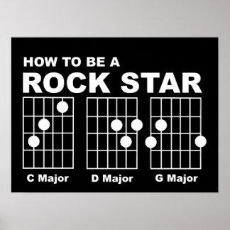 Rock Star Guitar Chords Funny Print Poster Humor