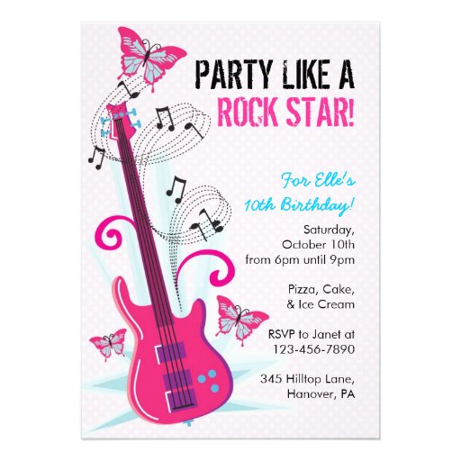 Personalized Guitar birthday Invitations – Rockstar Birthday Party Invitations