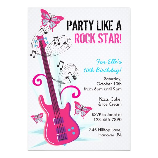 Rock Star Guitar Hero Birthday Party Invitations