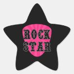 Rock Star Guitar Pick Star Stickers