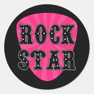 Rock Star Guitar Pick Classic Round Sticker