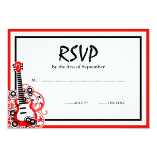 Rock Star Guitar Red Black RSVP Custom Announcement