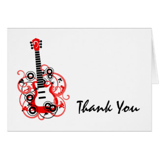 Rock Star Guitar Red Black Thank You Card