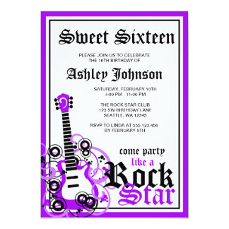 Rock Star Guitar Sweet 16 Birthday Party Purple Card