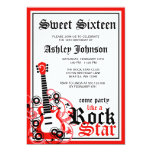 "Rock Star Guitar Sweet 16 Birthday Party Red 5"" X 7"" Invitation Card"