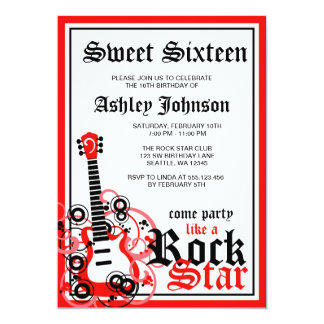 Rock Star Guitar Sweet 16 Birthday Party Red 5x7 Paper Invitation Card