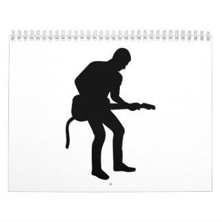 Rock star guitarist wall calendar