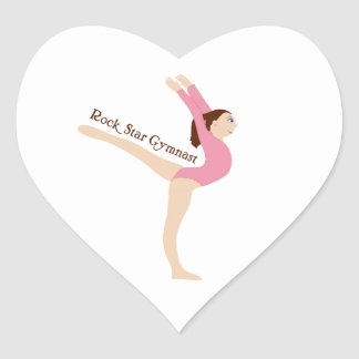 Rock Star Gymnast Heart Sticker