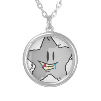 Rock star illustration pun silver plated necklace