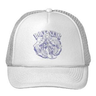 ROCK STAR IN BLUE VINTAGE STYLE TRUCKER HAT