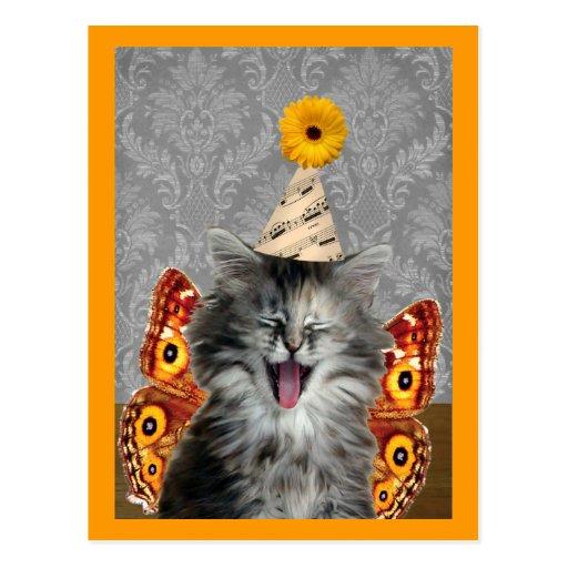 Rock Star kitten postcard