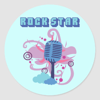 Rock Star Microphone Round Sticker