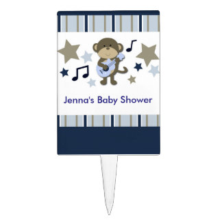 Rock Star Monkey Baby Shower Cake Pick Topper