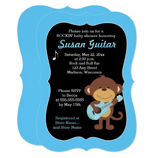 Rock Star Monkey Baby Shower / Choose Color! Card