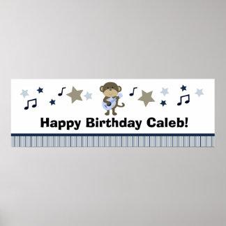 Rock Star Monkey Birthday Party Baby Shower Banner Poster