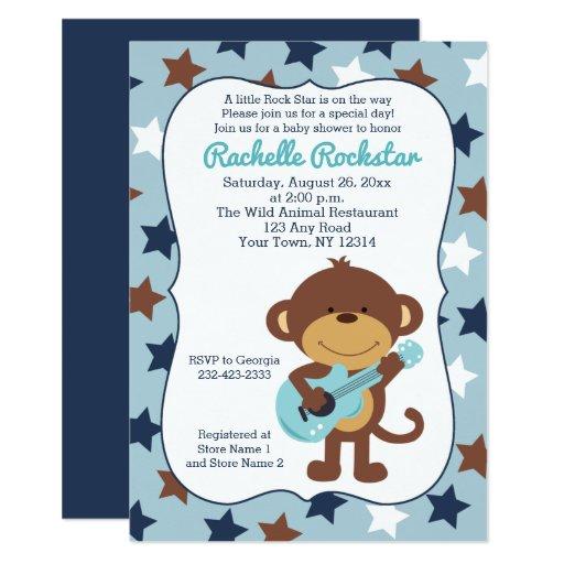 Rock Star Monkey Boy Baby Shower Invites