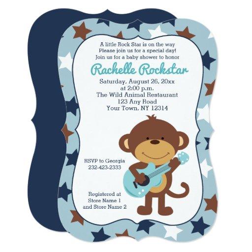 Rock Star Monkey Boy Baby Shower Invites Die Cut