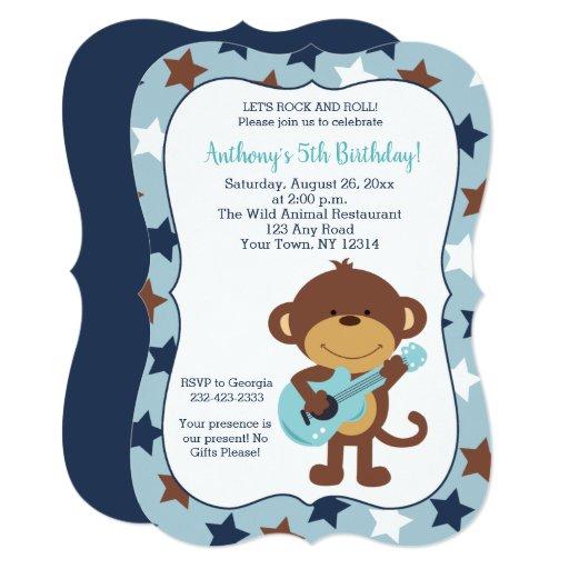 Rock Star Monkey Boy Birthday Invitations