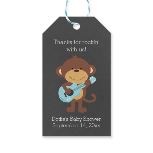 Rock Star Monkey Chalkboard Gift Tag