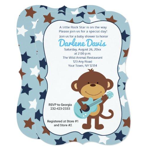 Rock Star Monkey Guitar Boy Baby Shower Card