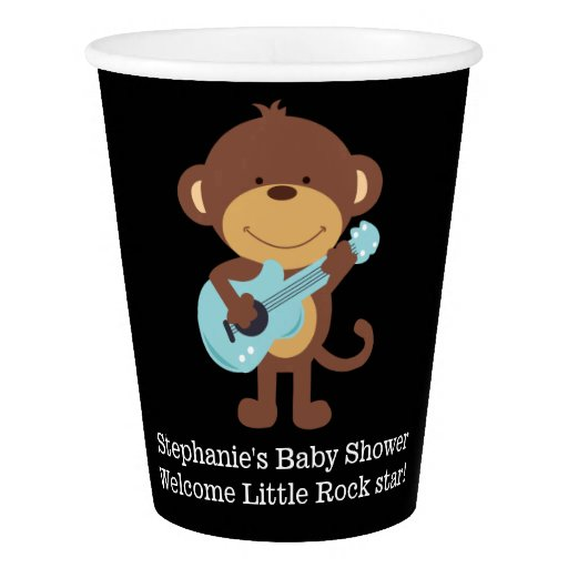 Rock Star Monkey Paper Cups in Black